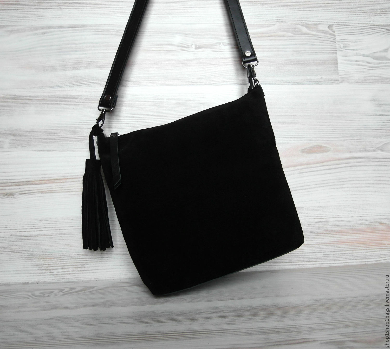 d6d4597a3b7c Купить Кожаная сумка на плечо Женские сумки ручной работы. Кожаная сумка на  плечо. Черная замшевая сумка. Черный цвет ...