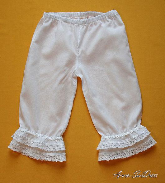 Одежда для девочек, ручной работы. Ярмарка Мастеров - ручная работа. Купить Панталоны детские удлиненные с двойной оборкой для девочки. Handmade.