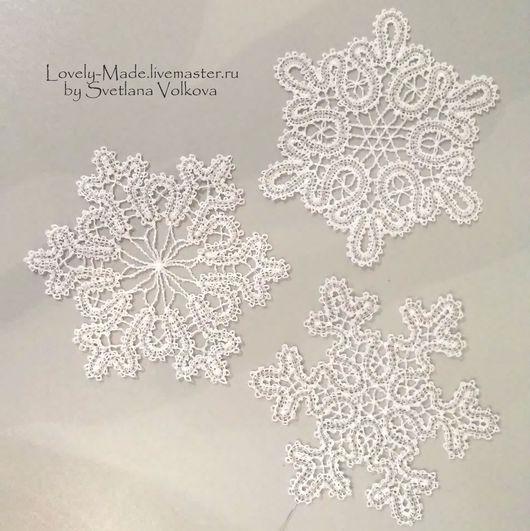 Новый год 2017 ручной работы. Ярмарка Мастеров - ручная работа. Купить Снежинки большие.Стилизация под вологодское кружево. Lace snowflake. Handmade.