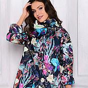 Одежда ручной работы. Ярмарка Мастеров - ручная работа Куртка темно-синяя с цветочным рисунком. Handmade.