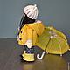 Человечки ручной работы. Ярмарка Мастеров - ручная работа. Купить Куколка Кристина с зонтиком. Handmade. Желтый, кукла в подарок, doll