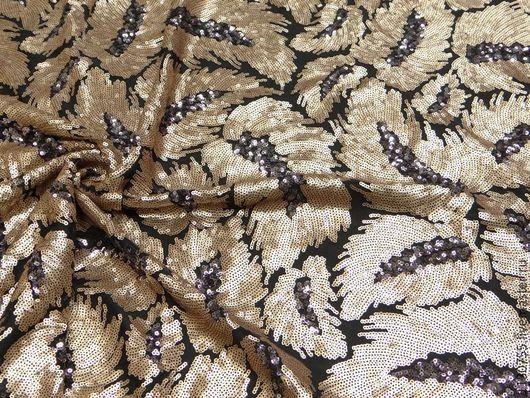 Шитье ручной работы. Ярмарка Мастеров - ручная работа. Купить Ткань сетка с пайетками золото   шир. 135см. Handmade.