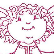 Иллюстрации ручной работы. Ярмарка Мастеров - ручная работа ангелочек  дизайн машинной вышивки. Handmade.