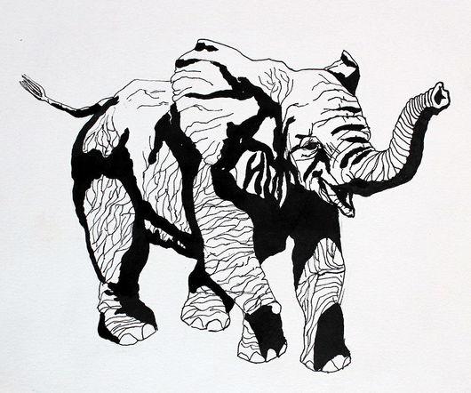 """Животные ручной работы. Ярмарка Мастеров - ручная работа. Купить графическая работа """"Веселый слоненок"""". Handmade. Слоник, животные, африка"""