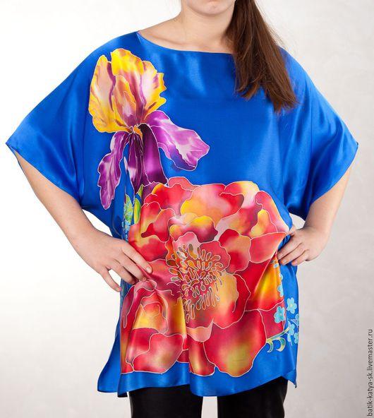 """Блузки ручной работы. Ярмарка Мастеров - ручная работа. Купить Батик блуза """"Ультрамарин"""". Handmade. Синий, батик блуза"""