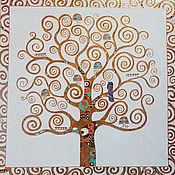 """Картины и панно ручной работы. Ярмарка Мастеров - ручная работа картина на плитке """"Древо жизни"""". Handmade."""