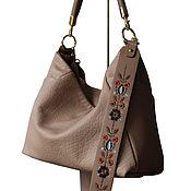 Сумки и аксессуары handmade. Livemaster - original item Beige leather bag with an embroidered strap, taupe. Handmade.