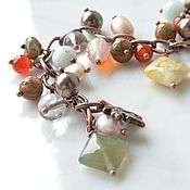 Украшения handmade. Livemaster - original item Charm bracelet made of natural stones Autumn day. Handmade.