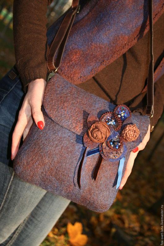 """Женские сумки ручной работы. Ярмарка Мастеров - ручная работа. Купить Сумки """"Шоколадный джинс"""". Handmade. Тёмно-синий"""