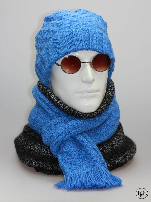 """Для мужчин, ручной работы. Ярмарка Мастеров - ручная работа. Купить Мужской комплект """"Шапка + шарф из пряжи небесного цвета"""". Handmade."""