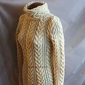 Одежда handmade. Livemaster - original item Pure wool sweater braids (baked milk). Handmade.