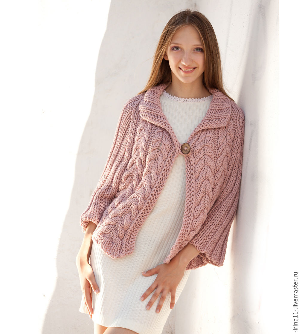 Light Pink Poncho Sweater Loose Knit Poncho Cape Cable Knit Poncho