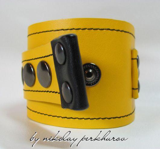 """Украшения для мужчин, ручной работы. Ярмарка Мастеров - ручная работа. Купить БРАСЛЕТ """" ENERGETIC """" yellow (НАТУРАЛЬНАЯ КОЖА). Handmade."""