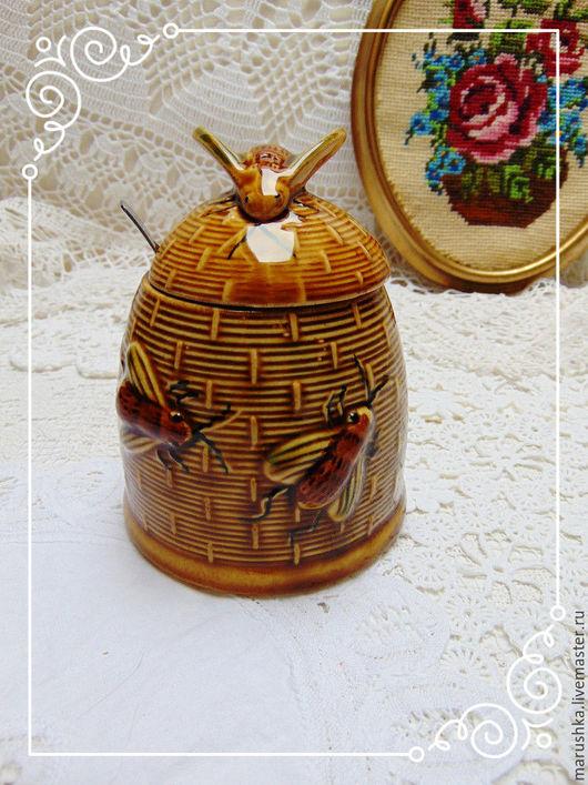 Винтажная посуда. Ярмарка Мастеров - ручная работа. Купить Винтажная баночка для меда Пчелки, Италия. Handmade. Коричневый, итальянская керамика
