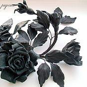 """Украшения ручной работы. Ярмарка Мастеров - ручная работа """"Black rose"""" Брошь-роза из кожи.Украшения-роза.Подарок.. Handmade."""