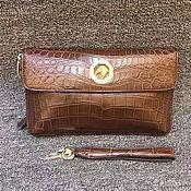 Сумки и аксессуары handmade. Livemaster - original item Crocodile leather clutch bag in brown!. Handmade.