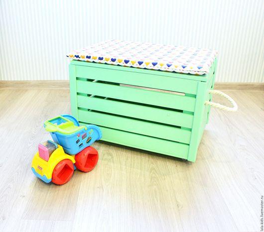 Детская ручной работы. Ярмарка Мастеров - ручная работа. Купить Ящик-пуф для игрушек. Handmade. Салатовый, хранение игрушек, паралон