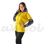 Одежда ручной работы. Ярмарка Мастеров - ручная работа V-куртка с капюшоном лимонная C3B. Handmade.