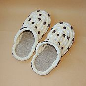 Обувь ручной работы handmade. Livemaster - original item Knitted Plush Slippers shoes flip flops handmade shoes. Handmade.