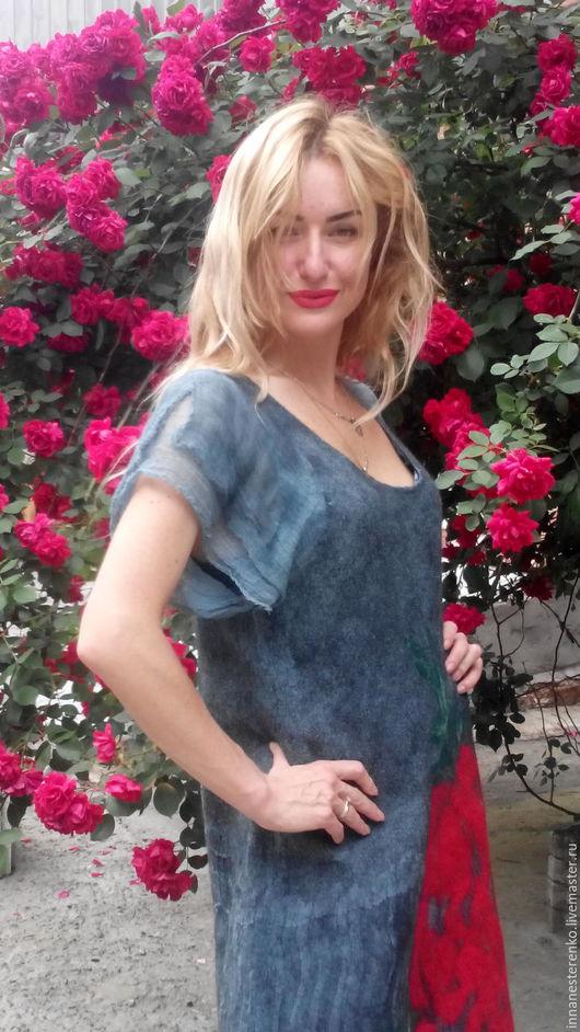 """Платья ручной работы. Ярмарка Мастеров - ручная работа. Купить Валяное платье """"Роза"""". Handmade. Серый, войлок ручной работы"""