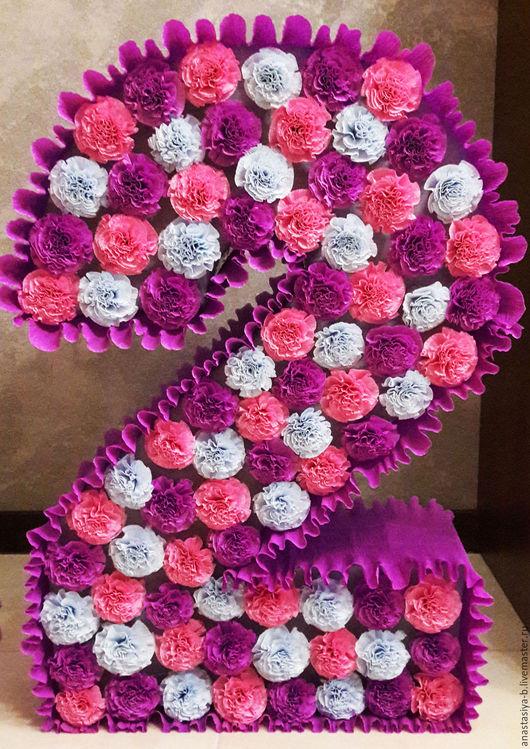 Как сделать цветы для цифры 52