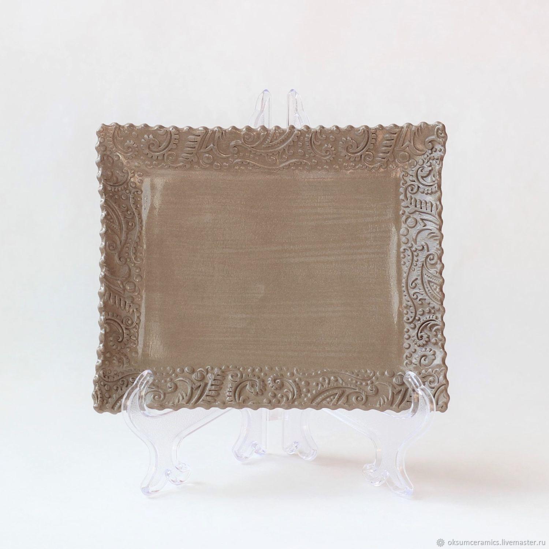 Тарелка керамическая ручной работы, Сырная тарелка, тарелка на ножках, Тарелки, Лобня,  Фото №1