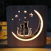 Сувениры и подарки handmade. Livemaster - original item Night light cat lamp, moon lamp. Handmade.