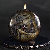 Украшения handmade. Livemaster - original item Wolf talisman totem pendant with stone painting. Valkyrie Pendant. Handmade.