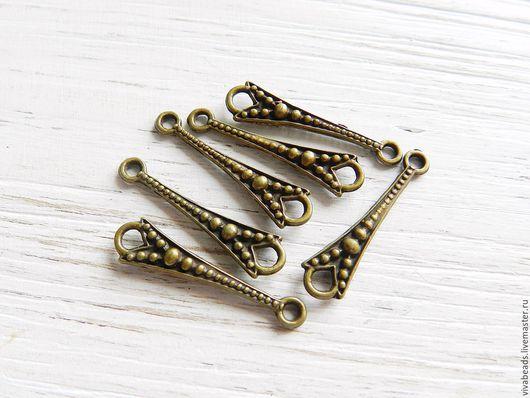 Коннектор металлический для украшений , размер  26х7x2 мм цвет БРОНЗА,  материал - сплав металлов, не содержит свинца, никеля, кадмия (арт. 2225)