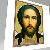"""Схемы для вышивки ручной работы. Ярмарка Мастеров - ручная работа Холст с печатью премиум вышивка бисер """"Иисус Христос"""" 30х40. Handmade."""