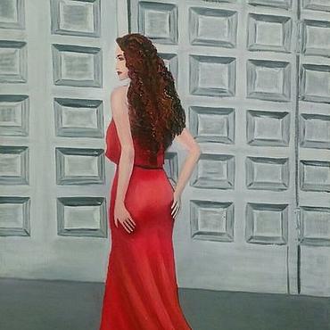 Картины и панно ручной работы. Ярмарка Мастеров - ручная работа Девушка в красном платье. Handmade.