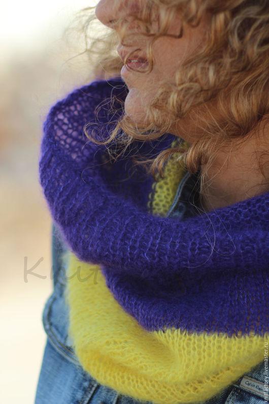 """Шарфы и шарфики ручной работы. Ярмарка Мастеров - ручная работа. Купить Снуд """"Яркий Акцент"""". Handmade. Комбинированный, фиолетовый"""