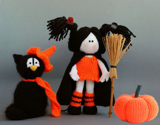 """Обучающие материалы ручной работы. Ярмарка Мастеров - ручная работа. Купить Мастер класс """" Хэллоуин. Ведьмочка, черный кот и тыква"""". Handmade."""