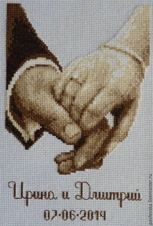 """Подарки для влюбленных ручной работы. Ярмарка Мастеров - ручная работа. Купить Вышитая свадебная метрика """"Рука об руку"""". Handmade."""