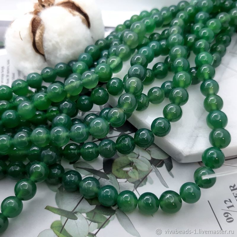 10 PCs. Agate is green of toirov. 8 mm smooth ball (4782), Beads1, Voronezh,  Фото №1