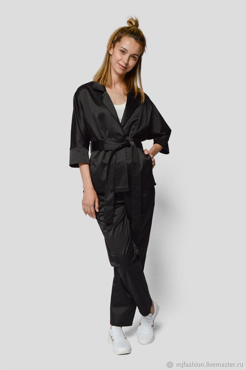 Black satin suit (art. 01-0108), Suits, Omsk,  Фото №1