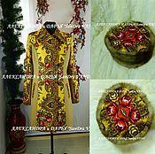 """Одежда ручной работы. Ярмарка Мастеров - ручная работа Пальто """"Магия чувств""""желтый+шапка-кубанка. Handmade."""