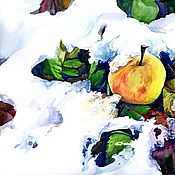 """Картины и панно ручной работы. Ярмарка Мастеров - ручная работа Акварель """"Яблоко в снегу№2"""". Handmade."""
