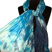 Аксессуары handmade. Livemaster - original item Warm Scarf wool and silk handmade painting scarf with fringe. Handmade.