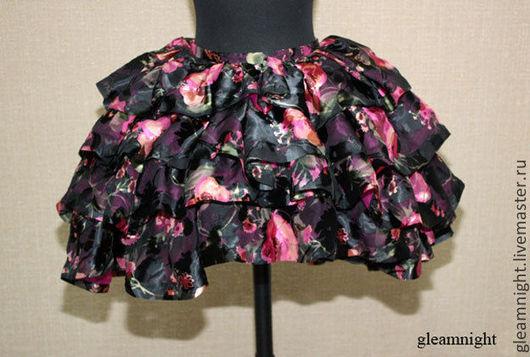 Юбки ручной работы. Ярмарка Мастеров - ручная работа. Купить Пышная шифоновая юбка на кринолине. Handmade. Цветочный, бурлеск