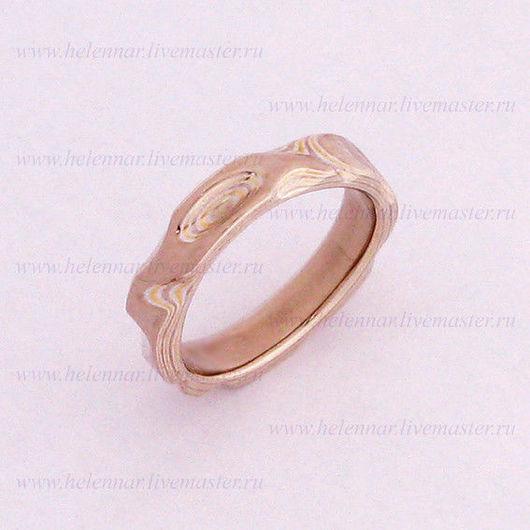 Обручальное кольцо в стиле Мокуме Гане