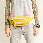 Сумки и аксессуары handmade. Livemaster - original item Bag on the belt from hemp, yellow. Handmade.