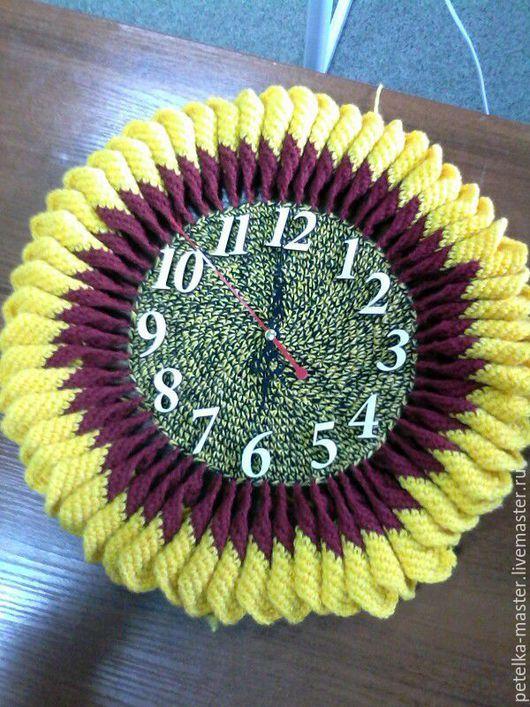 Часы для дома ручной работы. Ярмарка Мастеров - ручная работа. Купить часы-подсолнух. Handmade. Комбинированный, подарок на любой случай