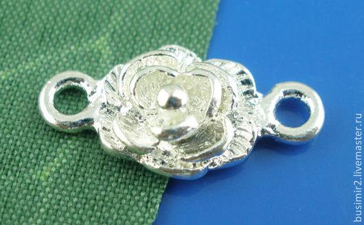 Коннектор, цвет - серебро. Размер 19х9 мм. Коннекторы для создания украшений. Busimir