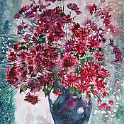 Картины и панно handmade. Livemaster - original item Watercolor painting with chrysanthemums. The fire of the last chrysanthemums.. Handmade.