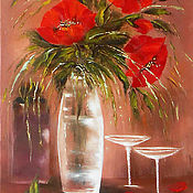 Pictures handmade. Livemaster - original item Red poppies paintings canvas, Wall art Poppies flowers painting oil. Handmade.