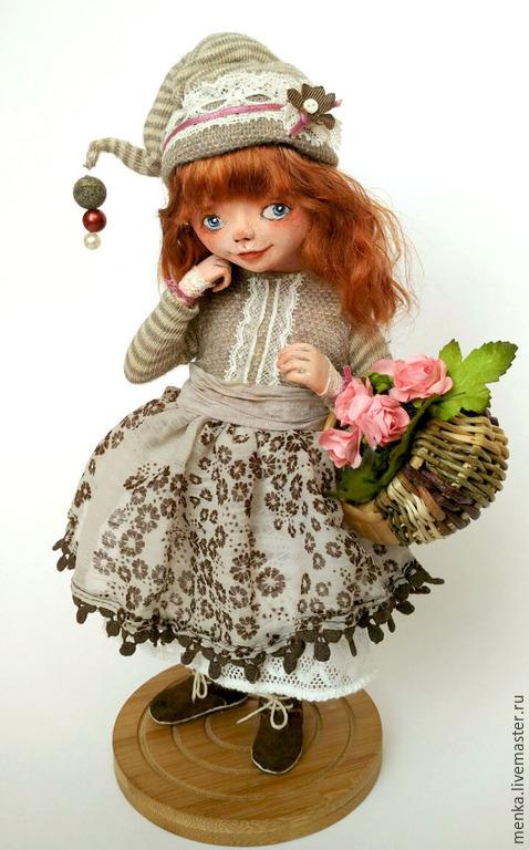 Коллекционные куклы ручной работы. Ярмарка Мастеров - ручная работа. Купить Майя. Handmade. Коричневый, подружка, трикотажное полотно