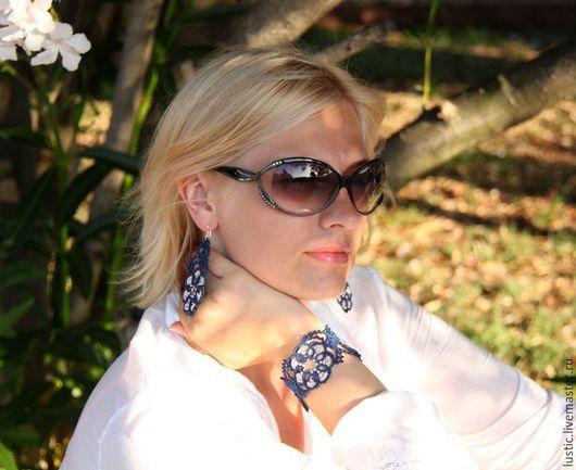 Браслеты ручной работы. Ярмарка Мастеров - ручная работа. Купить Кружевной браслет «Таинственный цветок» (тёмно-синий, серебристый). Handmade.