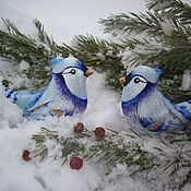 Подарки к праздникам handmade. Livemaster - original item Crested blue Jays. Pair of linen Christmas toys. Painting.. Handmade.