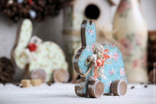 Подарки на Пасху ручной работы. Ярмарка Мастеров - ручная работа. Купить Заяц, деревянная игрушка. Handmade. Голубой, деревянная игрушка